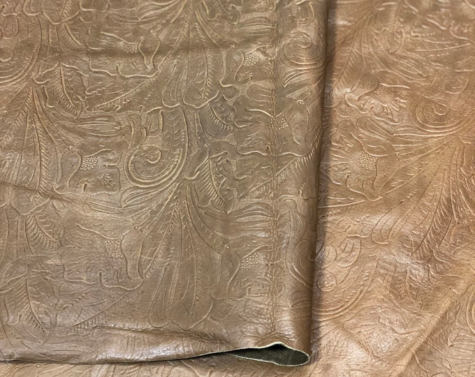 LIMITED OFFERING: Luggage Large Floral (1.1-1.3 mm) Cow Leather. Only 2 Left! Perfect for Handbags, Shoes, Garments, Leather Crafts
