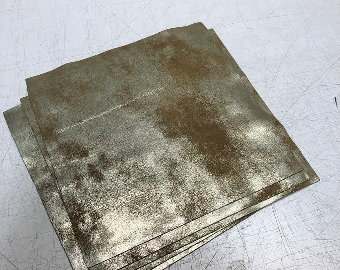 "12"" x 12"" Distressed Metallic: Luggage/Gold (1.1-1.3mm) Distressed Metallic Nubuck - Perfect for Handbags, Shoes, Garments, Accessories"