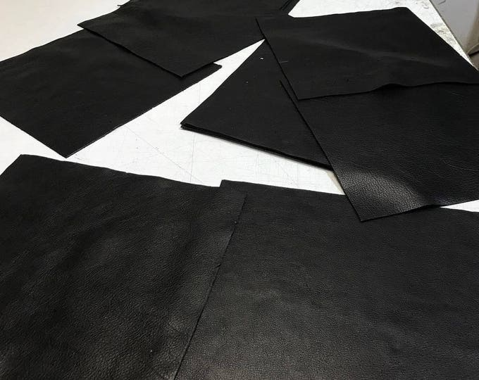12'' x 12'' Black Cowhide: Soft Natural Pebble Grain Leather 2.5-3 oz. Perfect for Handbags, Shoes, Garments, and Leather Crafts!