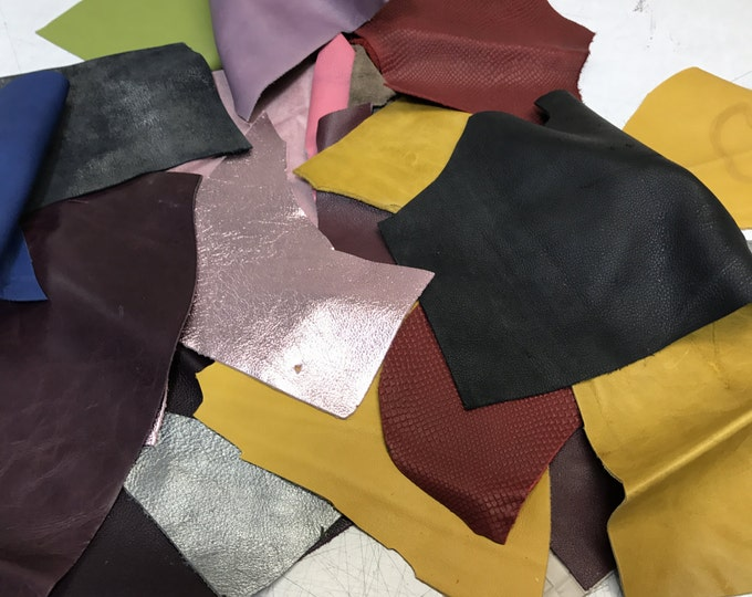 EXTRA LARGE PACK of Full Grain leather Scraps and Trimmings (5 lbs): naked leathers, fashion colors, metallics, embossings and prints!