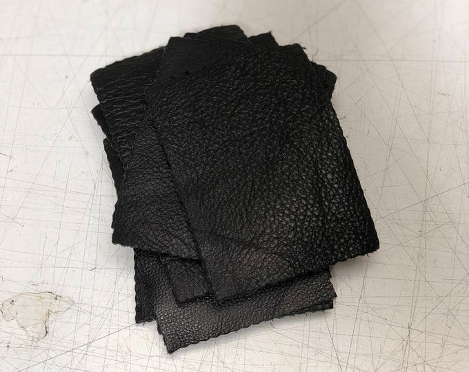 Black Cow Leather Pieces 3.25 inches x 4.5 inches Piece. Perfect for DIY Crafts, and Small Leather Goods