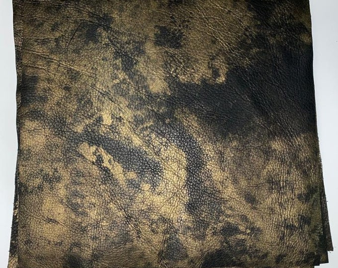 Black With Gold Full Grain Distressed Metallic 12 x 12 Squares. Perfect For Handbags, Earrings, Jewelry, and Leather Crafts
