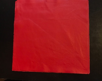 12'' x 12'' Bright Red Cowhide: Soft Natural Pebble Grain Leather 2.5-3 oz. Perfect for Handbags, Shoes, Garments, and Leather Crafts!