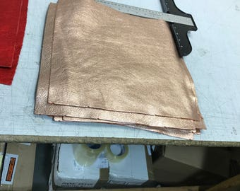 Rose Gold (Peach) Metallic Leather 12'' by 12'' pieces: Natural Grain Cow 2.5-3.0 oz (1.1 - 1.3 mm). Perfect for Handbags, Crafts, Jewelry