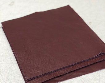 12 x 12 Burgundy Cowhide: Soft Natural Pebble Grain Leather 2.5-3 oz. Perfect for Handbags, Shoes, Garments, and Leather Crafts
