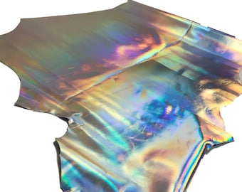 Silver Iridescent Cowhide Leather Skins