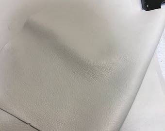 12'' x 12'' Off White Cowhide: Soft Natural Pebble Grain Leather 2.5-3 oz. Perfect for Handbags, Shoes, Garments, and Leather Crafts!
