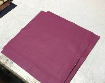 "12"" X 12"" Fuchsia Leather Pieces : Cow Skins Natural Grain 3 oz Perfect for Handbags, Shoes, Garments, and Leather Crafts"