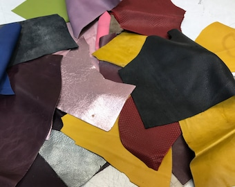 LARGE PACK of Full Grain Leather SCRAPS and Trimmings: 3 lbs of scrap include fashion colors, embossings and metallics!