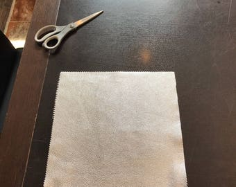 Silver Metallic Leather 12'' by 12'' pieces : Natural Grain Cow Leather 2.5-3.0 oz (1.1 - 1.3 mm). Perfect for Handbags, Crafts, Jewelry