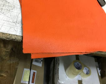 12'' x 12'' Orange Cowhide: Soft Natural Pebble Grain Leather 2.5-3 oz. Perfect for Handbags, Shoes, Garments, and Leather Crafts!