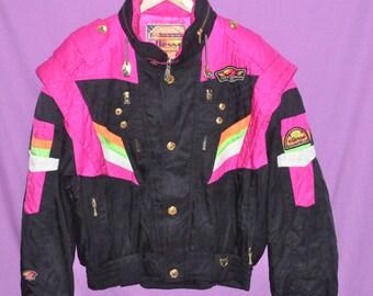 a48856bacbe1 Vintage TEAM ELLESSE Jacket Unisex Large Japan Racing Ski Wear Multicolour  Neon Jacket 90s Skiing Hooded Jacket Bomber Size L