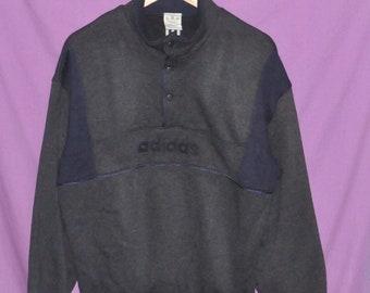 0ff53e685e3 Vintage 90s Adidas Trefoil Medium Size Snap Button Sweatshirt Sweater