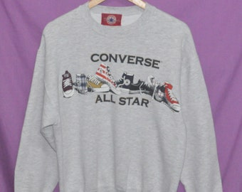 Vintage 90s 1994  CONVERSE All Star  Shoes Sweatshirt Sweater Medium Made in USA