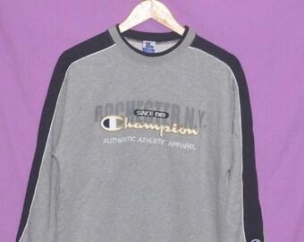 Vintage Champion Spell Out Logo Sweatshirt Sweater Jumper Pullover Medium Size