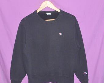 Vintage 90s Champion Small Embroidery Logo Sweatshirt Sweater Crewneck Faded Black Small Size