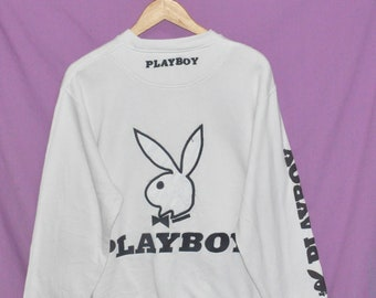 Vintage 90s Playboy Bunny Head Big Embroidery Logo Sweatshirt Sweater White Medium Size KL6o9RSUA