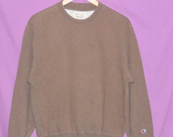 Vintage 90s Champion Small Embroidery Logo Hip Hop Style Sweatshirt Sweater Brown Medium Size
