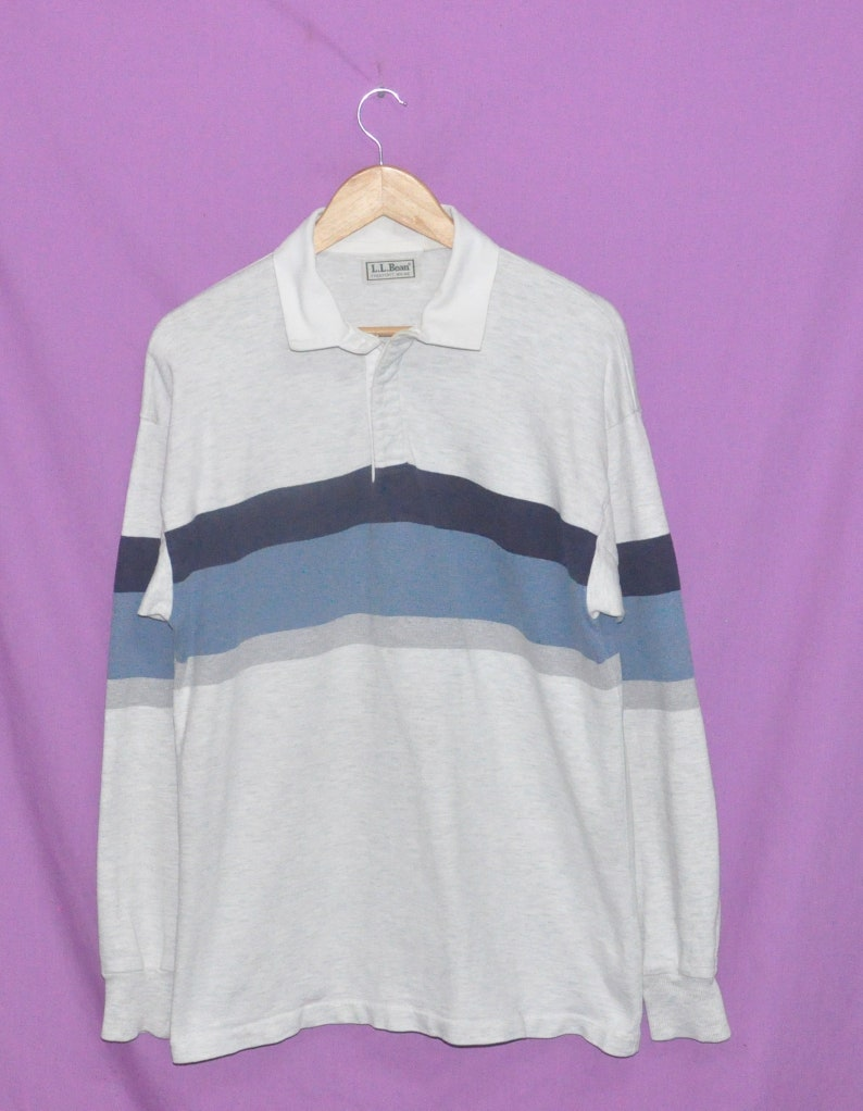 38f3f38e Vintage 90s LL Bean Striped Rugby Polo-Shirt Made in USA   Etsy