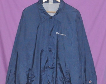 Vintage 90s Champion Small Embroidery Windbreaker Light Jacket Snap Button Large Size
