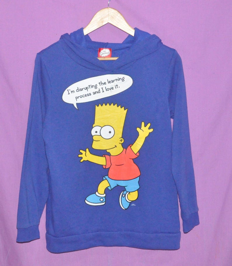 Bart Etsy Pull Rare Moyenne Sweat Simpson Taille Bleu Le Simpsons xFH7Ef
