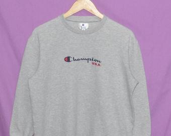 Vintage 90s Champion USA Embroidery Logo Sweatshirt Sweater Jumper Grey Medium Size