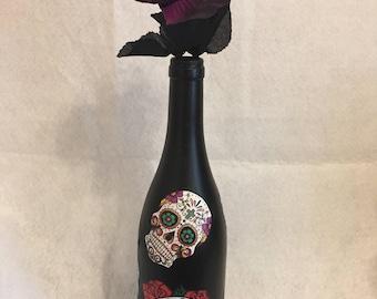 Sugar Skull Centerpiece/Sugar Skull Decorated Wine Bottle
