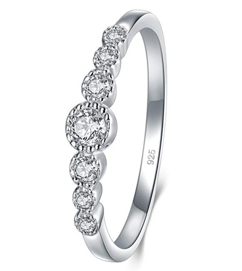 f8afe624d7292 Sterling Silver Ring, Cubic Zirconia CZ Diamond Eternity Engagement Wedding  Band Ring, Promise Ring