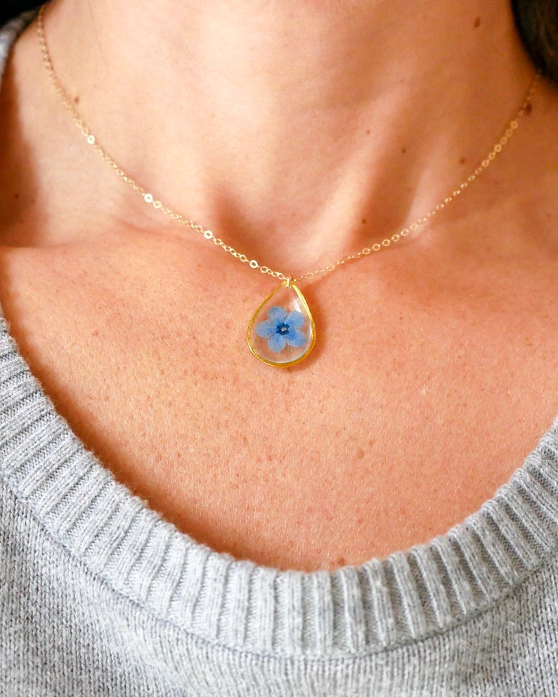 Forget me not teardrop necklace dainty botanical jewelry image 0