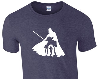 Mens 4 in 1 Silhouette Star Wars T-shirt Featuring Darth Vader, Yoda, R2D2 & C3P0. Choice of 11 T-shirt Colours, Gg1025