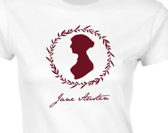 Womens Jane Austen T-Shirt  Featuring Jane's Own Silhouette & Signature,  Choice of 8 Colours, GG1064