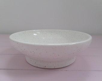 White Speckled Glazed Ceramic Bowl/Tealight Holder