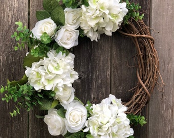 Best Seller - Summer Wreath, Grapevine Wreath, White Hydrangeas & Roses, Eucalyptus, Summer Wreaths for Front Door, 18 Inch