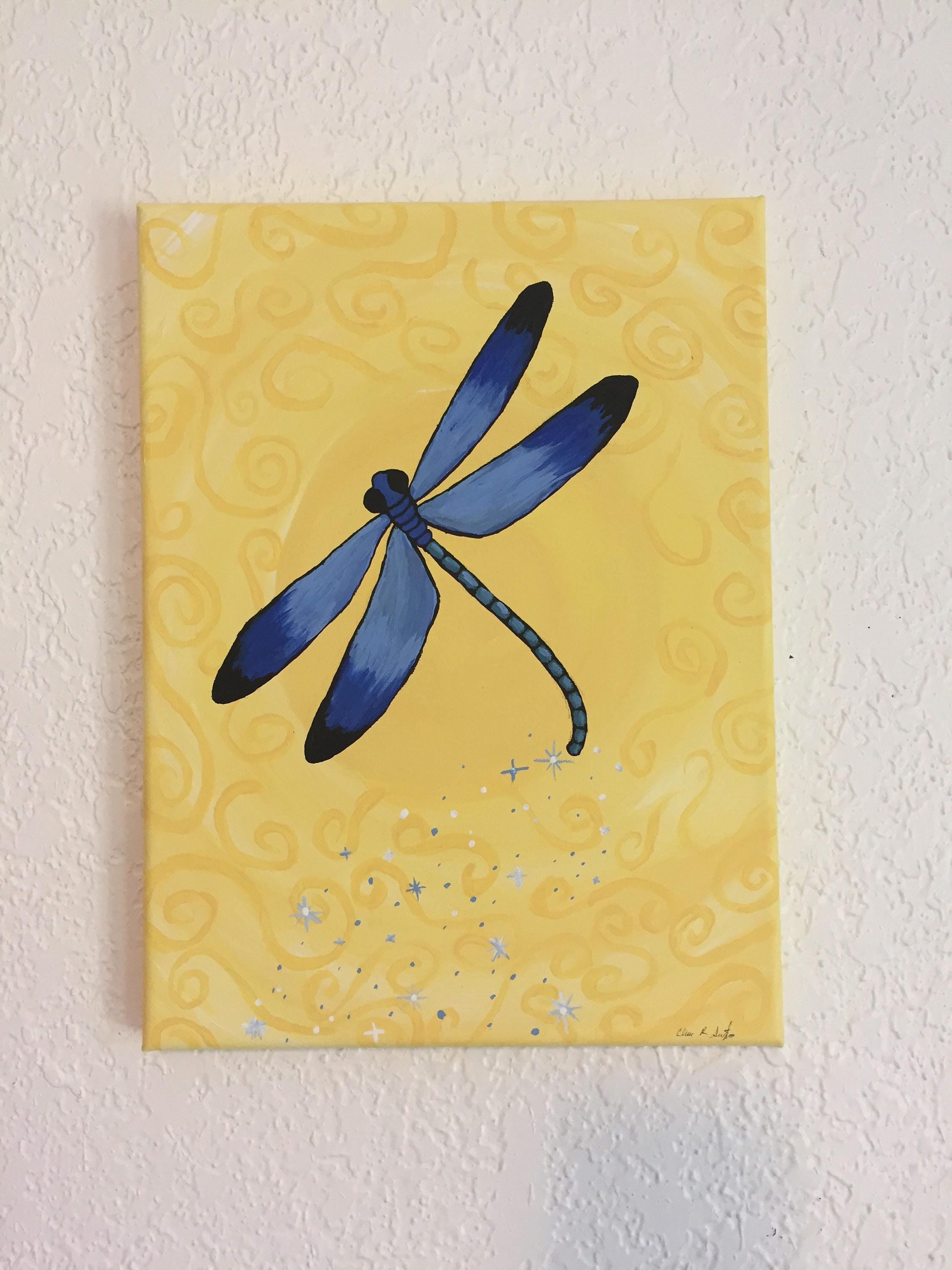 Dragonfly Painting Original Painting Art Blue Dragonfly | Etsy