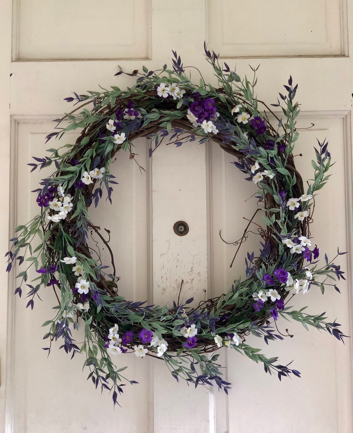 Mini Leaf Purple White Wreath Spring Wreaths For Front Door