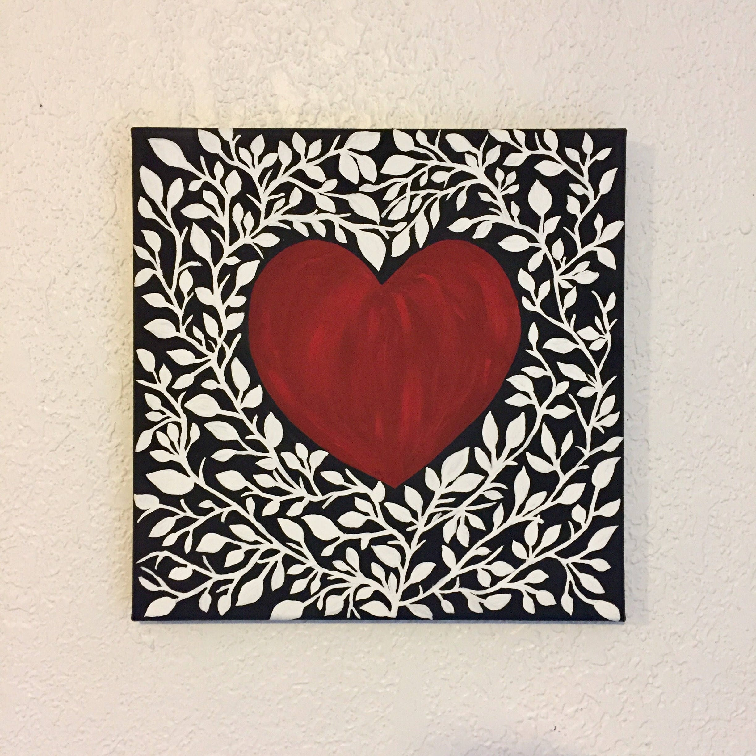 Paintings heart on canvas