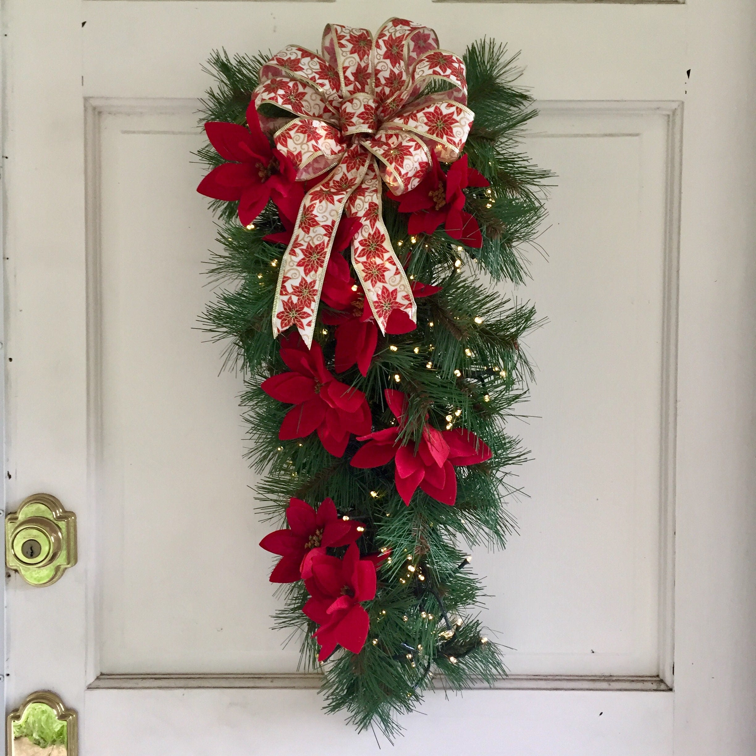 lighted christmas wreath faux pine swag wred poinsettias white red poinsettias bow christmas wreaths for front door 26 inch