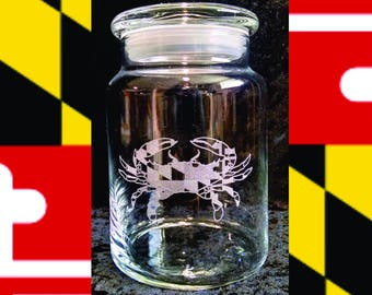 Maryland Candy Jar, Personalized Candy Jar, Baltimore Candy Jar, Custom Candy Jar, Maryland Flag, Gift for Kids, Holiday Gifts, Ships Fast