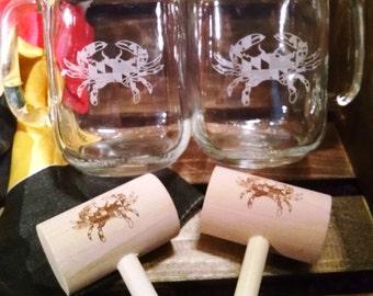 Maryland Crab Mason Jar Mug and Crab Mallet Set with FREE PERSONALIZATION