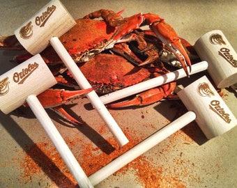 Baltimore Orioles Crab Mallets 4-Pack, Maryland Crab Mallets, Stocking Stuffer, Baseball Gift, Wedding Gift, Hostess Gift, Crab Knocker