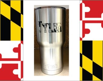 PERSONALIZED RTIC Tumbler 30oz with Maryland Flag design