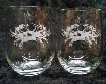 Set of 2 Maryland Crab Stemless Wine Glasses, Maryland Gifts, Etched Wine Glass, Stemless Wine Glass Personalized, Ships Fast, Custom
