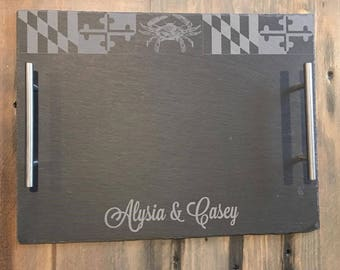 Personalized Maryland Gifts, Personalized Slate Cheese Board, Engraved Slate Serving Tray, Personalized Wedding Gift, Housewarming Gifts