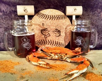 ORIOLES Bride & Groom Mason Jar Mug, Mallet and Trivet Gift Set