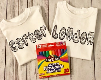 d8eb4c24a Kids Coloring Shirts, Birthday Party Gift, Doddle Shirt, Kids Shirt, Personalized  Shirt, Name Shirt, Coloring Shirt