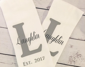 One Personalized Farmhouse Kitchen Tea Towel/Wedding Shower Gift/Housewarming Gift/Name Tea Towel/Anniversary Gift/Monogram Kitchen Decor
