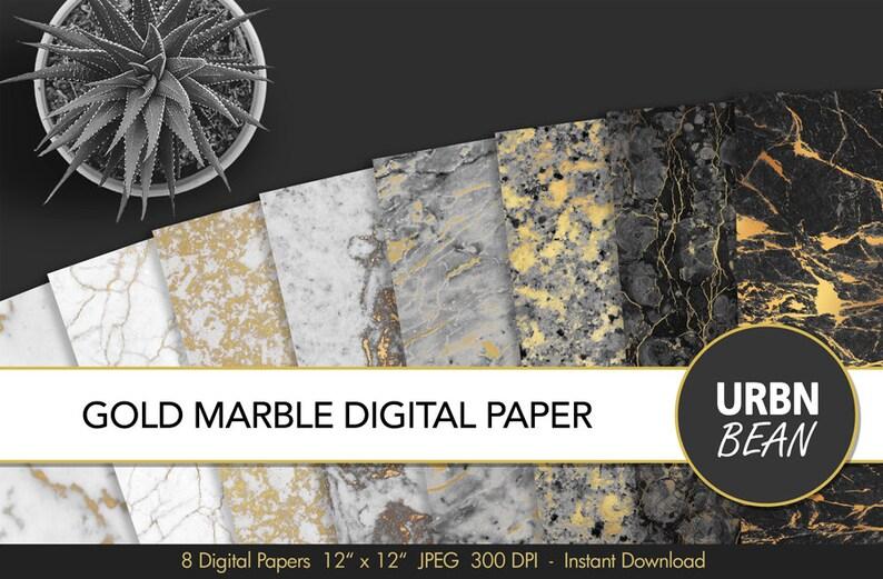 Carta Digitale In Marmo Bianco E Nero E Oro Sfondo Di Marmo Modello Digitale Di Marmo Struttura Di Marmo Stampabile
