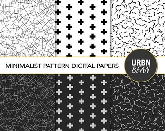 22 Minimalist Pattern Digital Papers. Black and White Wallpaper Background, Hand Drawn Pattern. Scandinavian Design. Instant Download