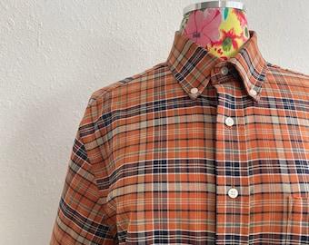 Towncraft Orange Checked Cotton Blend Button Down Shirt Vintage 1990s Wrinkle Free Work Wear Mens Medium