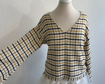 Topshop French Terry Top  Flare Sleeves Off White, Mustard + Black Windowpane Plaid Womens Med Large Made in UK